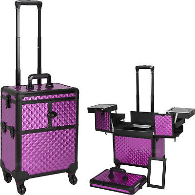 SUNRISE Professional Makeup Case on Wheels Aluminum, Two 3 Tier Trays with Lock