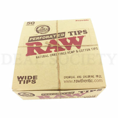 Full Box RAW Wide Perforated Natural Unrefined Hemp & Cotton Tips 2500 Total