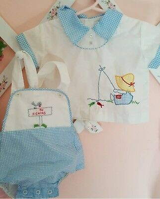 Vintage baby boy fishing romper and top set childrens 3 to 6 months unisex fish