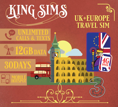 UK & Europe + 71 Countries Travel SIM Card | 12GB Data | Unlimited Calls & Texts