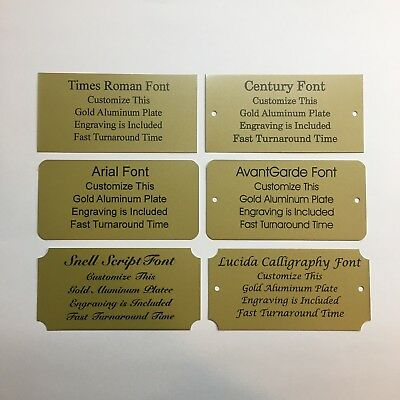 """3""""x5"""" Laser Engraved Gold Aluminum Plate Custom Personalized Plaque Trophy-Sign"""
