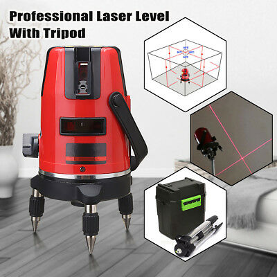 Outdoor Self Leveling Red Laser Level Auto 360° Rotating Rotary Cross w/ Tripod