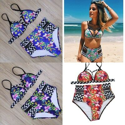 New Women Swimwear Brazilian Bikini Push Up High Waist Sexy Print Bathing Suits
