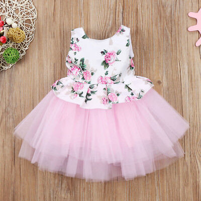 UK Stock Cute Toddler Baby Girls Princess Floral Tutu Tulle Party Dress Sundress