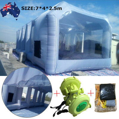 AU 7*4*2.5m Portable Inflatable Tent Paint Spray Booth Workstation + 220V Blower
