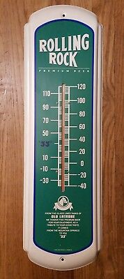 Vintage Orig 1988 Rolling Rock Beer Thermometer Advertising Sign WORKS Latrobe