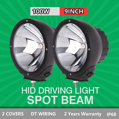 Pair 9 inch 100W HID Driving Lights Xenon Off Road Spotlights 4x4 Black Aluminum