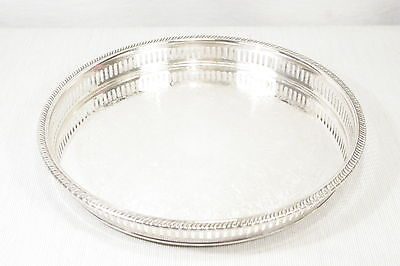 """Vintage Classic 12"""" Round Pierced Silverplate Serving Tray by Viking Canada EXC+"""