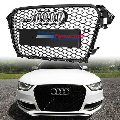 Front Sport Honeycomb Grill Grille Chrome Ring For Audi A4 S4 B8.5 RS4 2013-2015