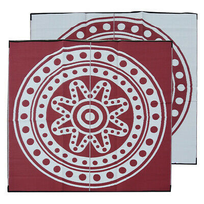 RECYCLED Outdoor Rug | ABORIGINAL Circle Time Design, 3m Square Burgundy & White