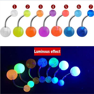 Wholesale LOT OF 7PCS GLOW IN THE DARK BELLY BARS Steel Navel Ring Piercing New