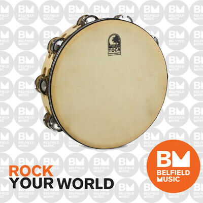 Toca 10'' Inch Tambourine Double Row with Head Player's Series Wood T1010H