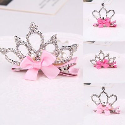 Baby Kids Girls Rhinestone Bowknot Crown Hair Clip Hair Pin Hair Accessories New