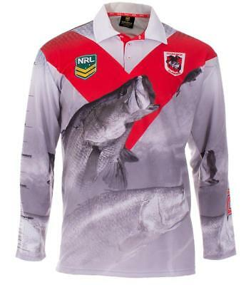 St George Dragons Nrl Adult Long Sleeve Fishing Polo Shirt With Collar