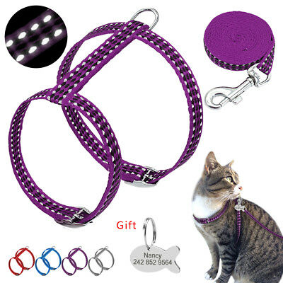 Safety Reflective Nylon Adjustable Cat Harness and lead leash Walking Lead