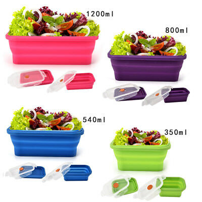 Silicone Food Lunch Box Bowl Bento Boxes Folding Collapsible Storage Portable