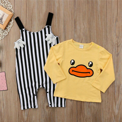 Newborn Kid Baby Girl Boy Long Sleeve Duck Tops Romper Pants Outfits Clothes Set