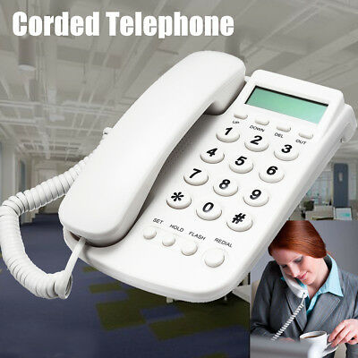 White Corded Phone Big Button Landline Desktop Home Hotel Office Telephone