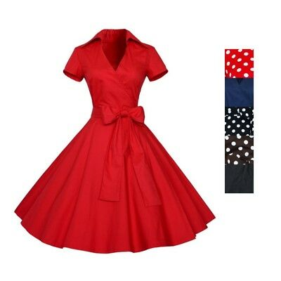 AU Vintage 50s 60s Rockabilly Hepburn Style Dress V-Neck Housewife Pinup Dresses
