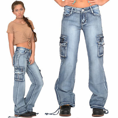 a40101f1b2858 New Womens Ladies Blue Loose Faded Wide Denim Cargo Jeans Combat Pants  Trousers