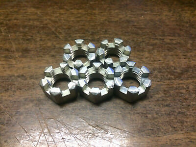 "5 PACK 1/2""-13  UNC Slotted hex nut Castle nut"