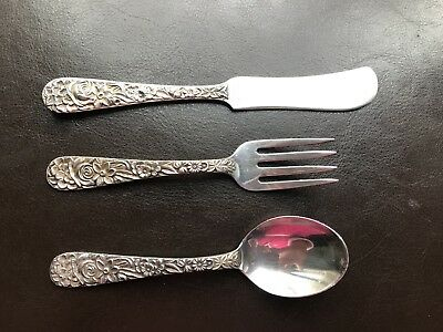 S. Kirk & Son Inc Sterling ~  BABY SPOON, FORK  & KNIFE ~ 3 Piece Silver Set