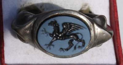 Large Roman Style Silver Intaglio Signet Seal Ring