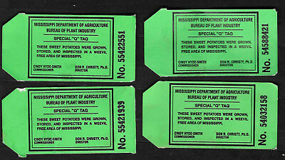 """State of Mississippi Sweet Potato Inspection Tags - Lot of 4 Special """"Q"""" Tag"""