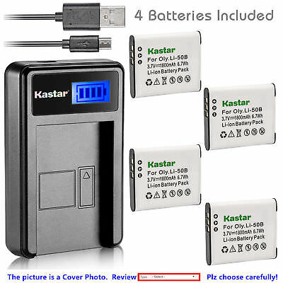Li-50B Battery or LCD Slim Charger for OLYMPUS D-750 D-755 D-760 TG-2 XZ-1 XZ-10