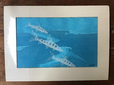 NIP Jim Tillett VTG 70's Silk Screen Print on Hand Painted Canvas Matted Signed