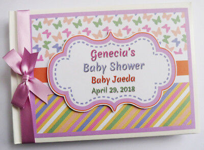 Personalised Butterflies Chevron Birthday Guest Book - Any Design