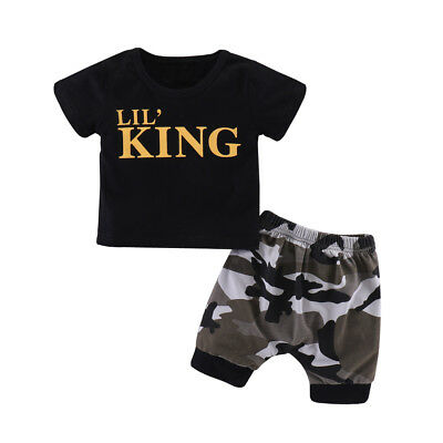 Toddler Baby Kids Boys Clothes Tops T-shirt Camouflage Pants Shorts Outfits Set