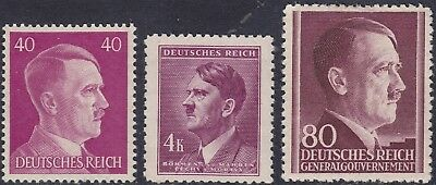 Stamp Selection Germany WWII Fascism AH Head Bohemia GG Poland 40pf 2 MH