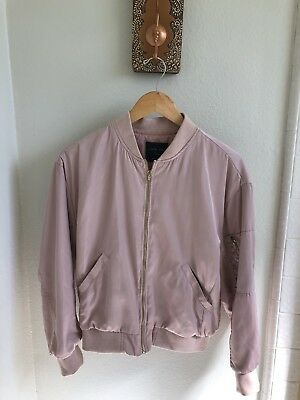 6e50b3cd7fe SATIN BOMBER JACKET pink Embroidered size small -  21.00