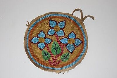 OLD Native American Round Blue Floral Beaded Pouch