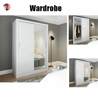 150cm 2 Sliding Door Wardrobes Clothes Closet Organiser W/ Mirror Bedroom  Furni