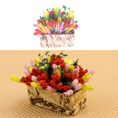 1:12 Dollhouse Miniature Multicolor Flower Bush With Wood Pot Dollhouse Decor Nk