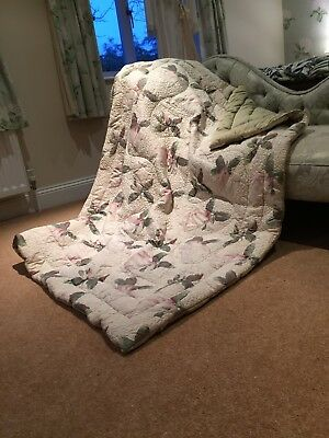 1930's Vintage Feather Eiderdown Quilt Blanket Textile Antique Magnolias