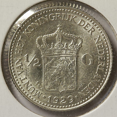 1929 1/2 Gulden Netherlands - MS-60 to MS-63+