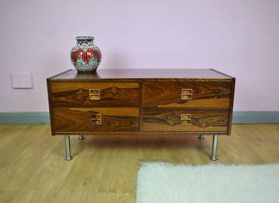 Mid Century Retro Danish Rosewood Low Sideboard TV Cabinet Chest with 4 Drawers
