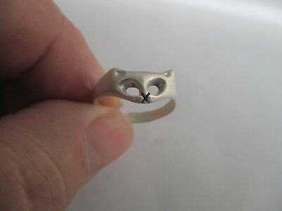Cat Ring (face)..STERLING SILVER..light..New...Taxco