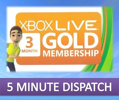 3 Month Xbox Live Gold Membership Microsoft Xbox 360 / Xbox One Fast Dispatch