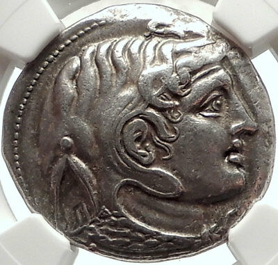 Alexander the Great on PTOLEMY I Soter Silver Tetradrachm Greek Coin NGC i68287