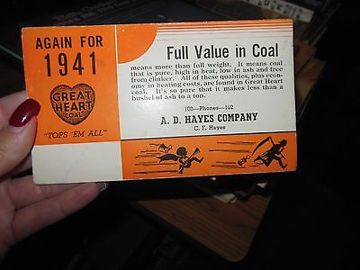 Vintage Great Heart Coal Ink Blotter 1941 A D Hayes Company