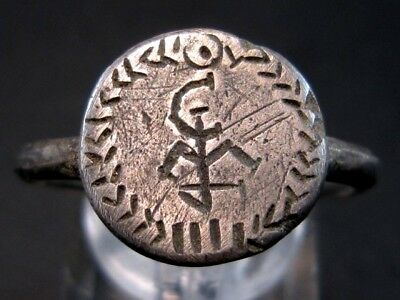 Extremely Rare Byzantine Silver Ring With Owner Monogram On The Top+++