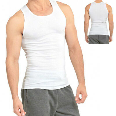 3-6 Packs Mens 100% Cotton Tank Top A-Shirt Wife Beater Undershirt Ribbed Muscle