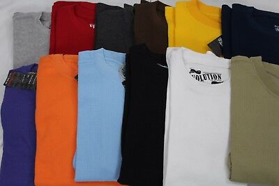 Men's Heavy Weight Waffle Thermal Long Sleeve Shirts 15 Colors Size S-6Xl