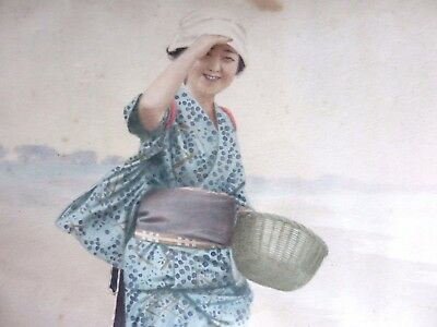 Rare Antique Meiji Period Japanese Watercolor Of A Lady Signed Tani