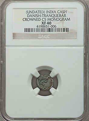 Danish India Tranquebar Christian V Cash (no date) NGC XF40 SCARCE