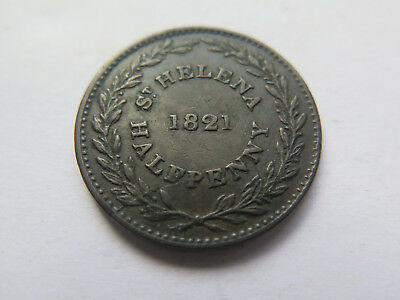 SCARCE 1821 St HELENA COPPER HALFPENNY in EXCELLENT COLLECTABLE CONDITION